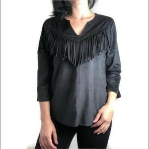 Express black faux suede fringe top size small